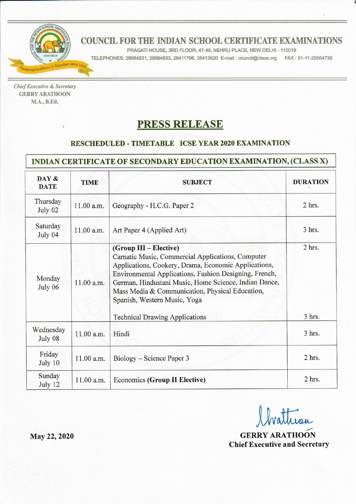 10th Board Exam Time Table - ICSE