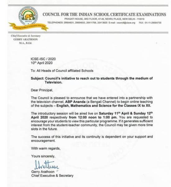 ICSE Council Initiative for Online Teaching for 9th and 10th Std